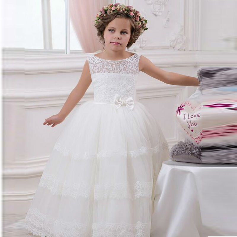 купить Flower Girls Dress Lace Ball Gown with Sash Child O-neck Sleeveless Pageant Party Gown Custom Vestidos Communion Gown по цене 4576.91 рублей
