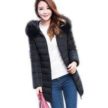 2017 New Big Size XL-7XL Winter Women Down Cotton Jacket Parka Female Hooded Large Fur Collar Cotton Medium-Long Warm Coat CQ331
