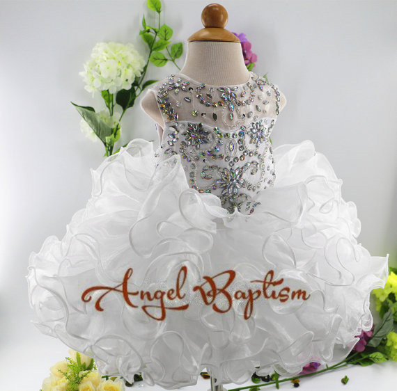 white/ivory cute flower girl dress for wedding with crystals ruffle tulle baby lace dress little kids pageant gowns