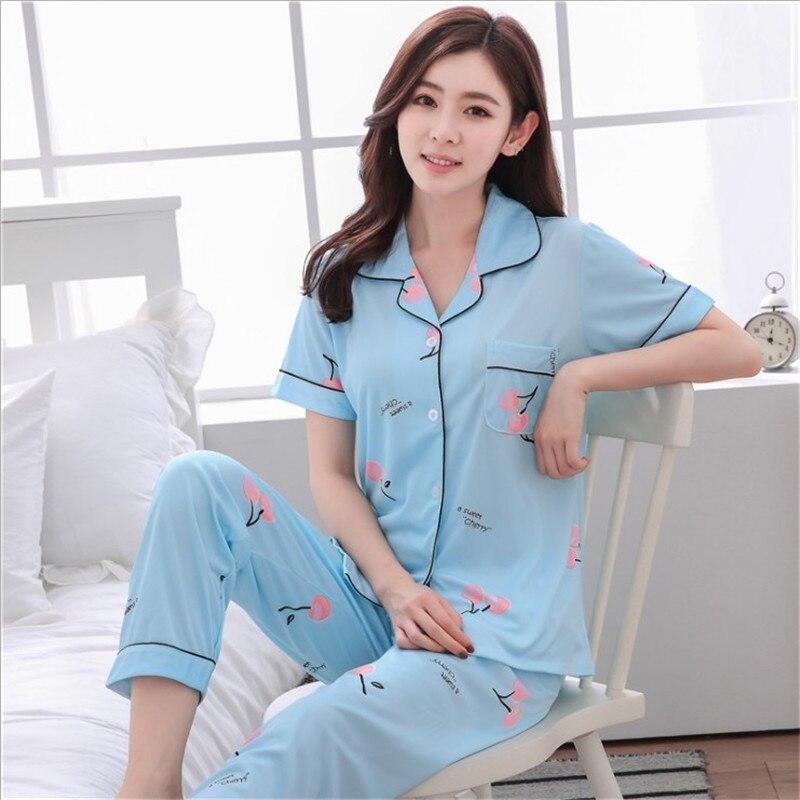 womens Pajamas Sets Sleepwear 2 Pieces Pyjama Set Sleep Lounge Long Sleeves Turn-down Collar Pocket Decor Top+Pants 2pcs nightwe