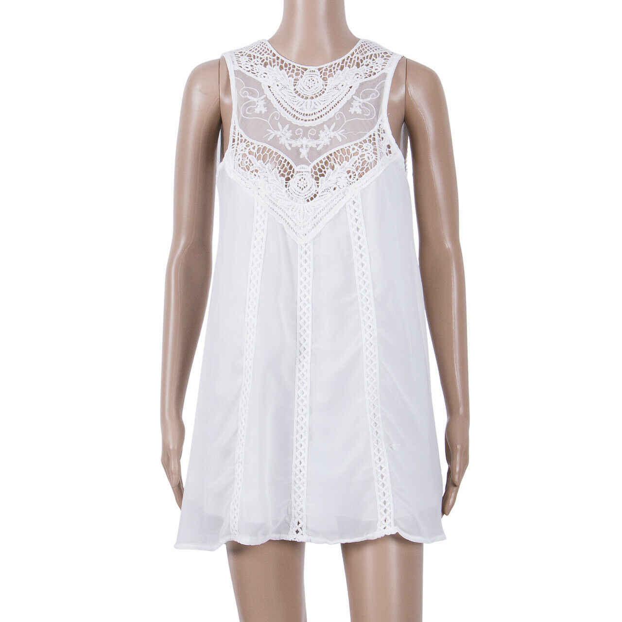 Femmes dame été Boho imprimé décontracté lâche Slim robe courte dentelle blanche sans manches robe de soleil