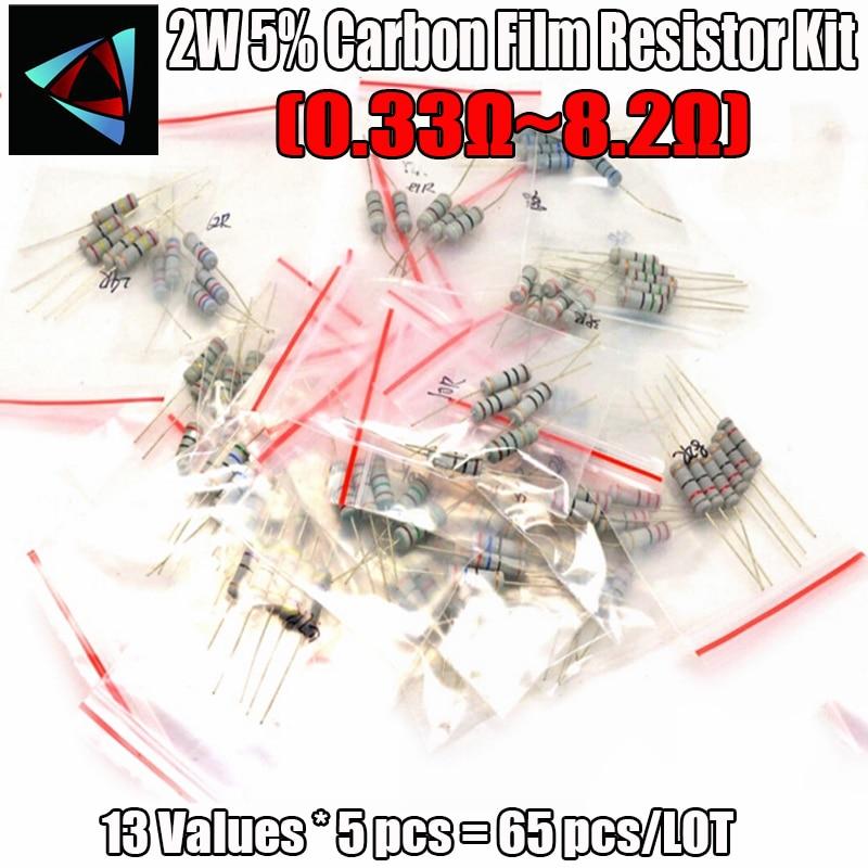 0.33R-8.2R Ом 2 Вт 5% DIP углеродная пленка резистор, 13valuesX5pcs = 65 шт., резисторы Ассорти комплект, образец сумка