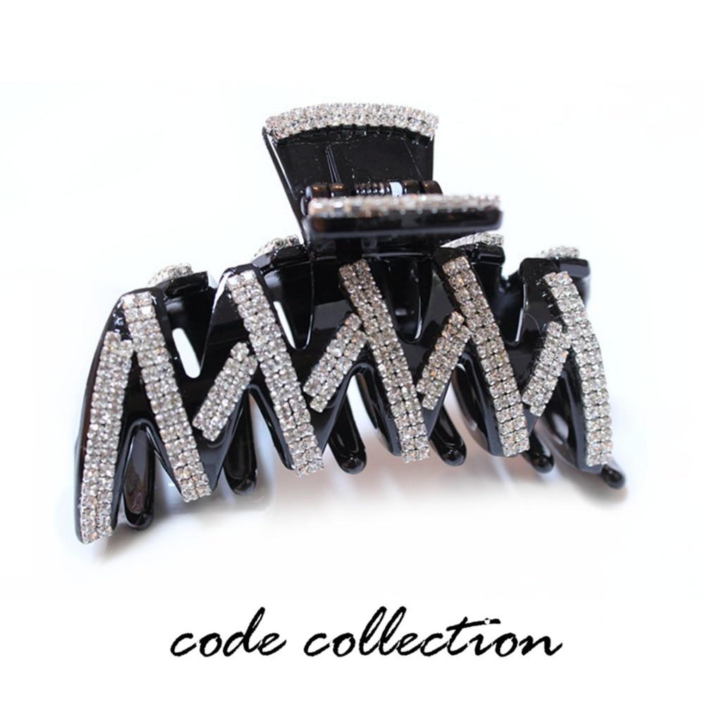 Fashion High Quality Crystal Acrylic   Headwear   Summer Hair Crab Clamp Rhinestone Accessories For Women Black Brown Hair Clips