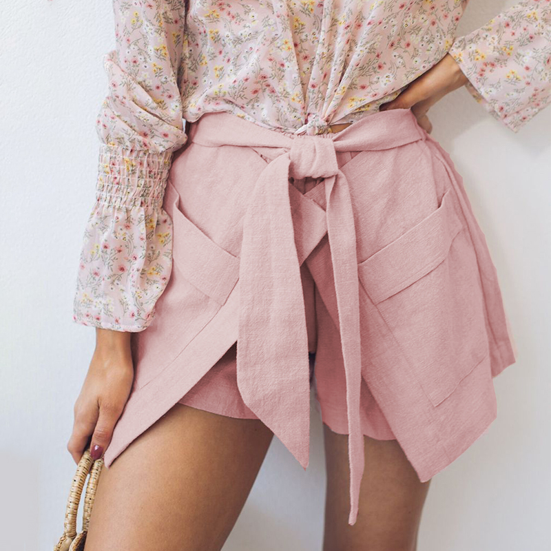 Fargeous Loose Chic Women Casual Pink Shorts Belt Tie Bow Female Shorts Summer 2019 High Fashion Pockets Shorts