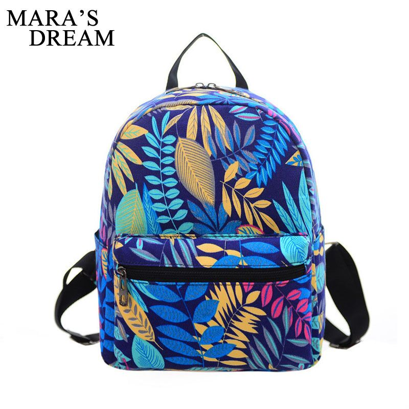 Mara's Dream Women Backpacks For Teenage Girls Floral Printed School Bags Travel Leisure Backpack Female Canvas Back Pack Bag
