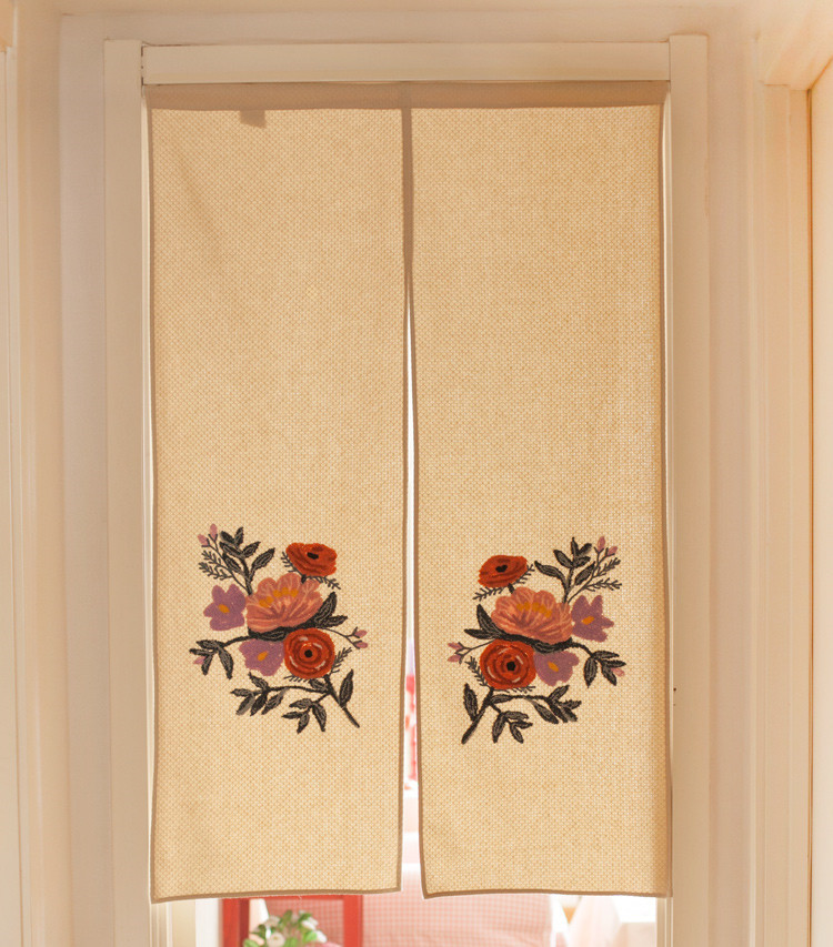 Japan Style Handmade Embroidered 100% Cotton Door Curtains Home Decorative Beautiful Summer Flowers Pattern Room Divider
