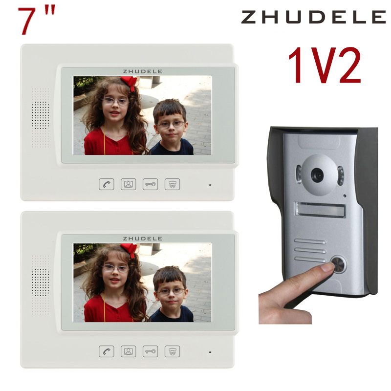 Free shipping! zhudele 7 inch TFT Monitor LCD Color Video Door Phone DoorBell1V2 Intercom System touch panel 700TV Line 37M2