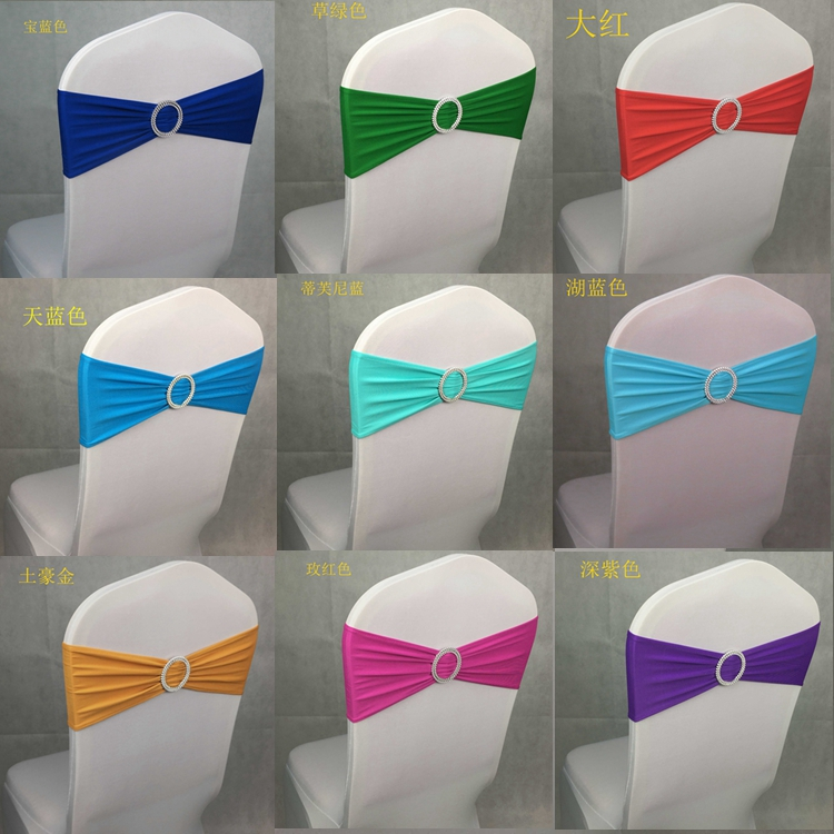 HOT SELL Wholesale 100pcs lot Spandex Lycra Wedding Chair Cover Sash Bands Wedding Party Birthday Chair