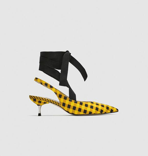 New 2018 Summer Newest Butterfly--knot High Heel Shoes Sexy Pointed Toe Yellow Plaid Cloth Thin Heels Shoe Lace-up Pumps summer bling thin heels pumps pointed toe fashion sexy high heels boots 2016 new big size 41 42 43 pumps 20161217
