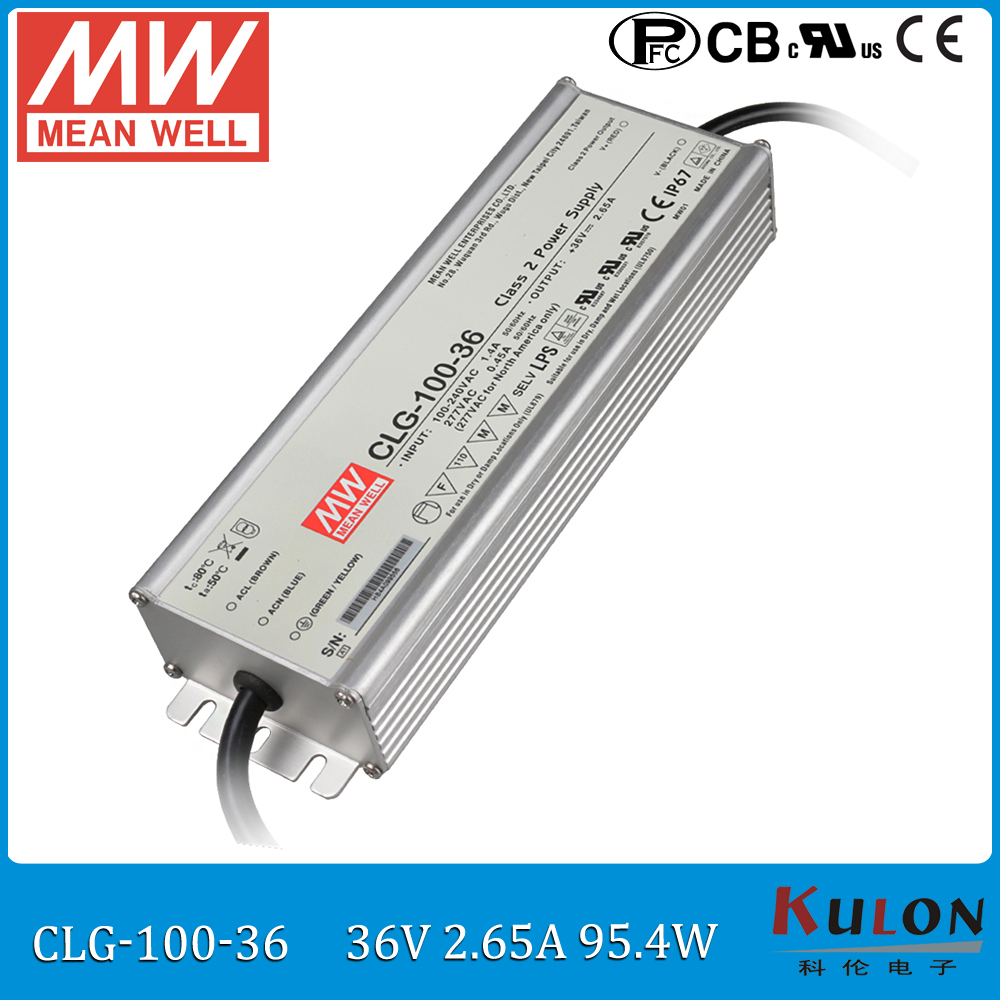 100W 2.65A 36V LED power supply MEAN WELL CLG-100-36 waterproof 36V meanwell led driver IP67 with PFC function meanwell 12v 100w ul certificated clg series ip67 waterproof power supply 90 295vac to 12v dc