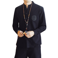 Cotton Fabric Men Shirt Long Sleeve Asian Size S 5XL Shirt Men Chinese style mens shirts