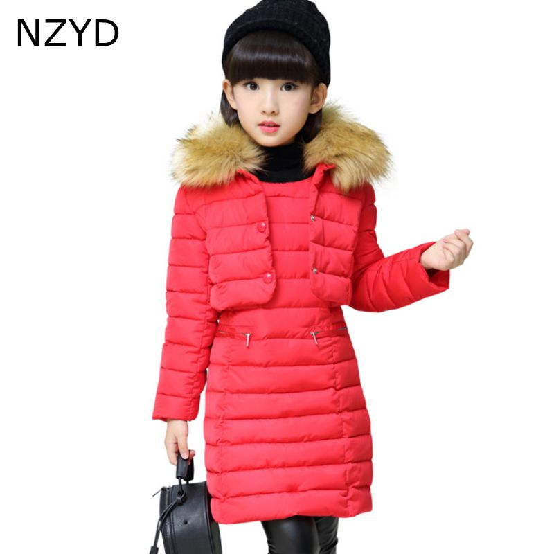 New Fashion Autumn Winter Cotton Girl Suits 2017 Children Coat + Sweet Vest Dress Casual Warm Kids Clothes 2PSC Set 6-14Y DC667 new fashion baby girl cotton clothes kids girl thick warm cotton dress cute cartoon cat hooded girl dress spring autumn winter