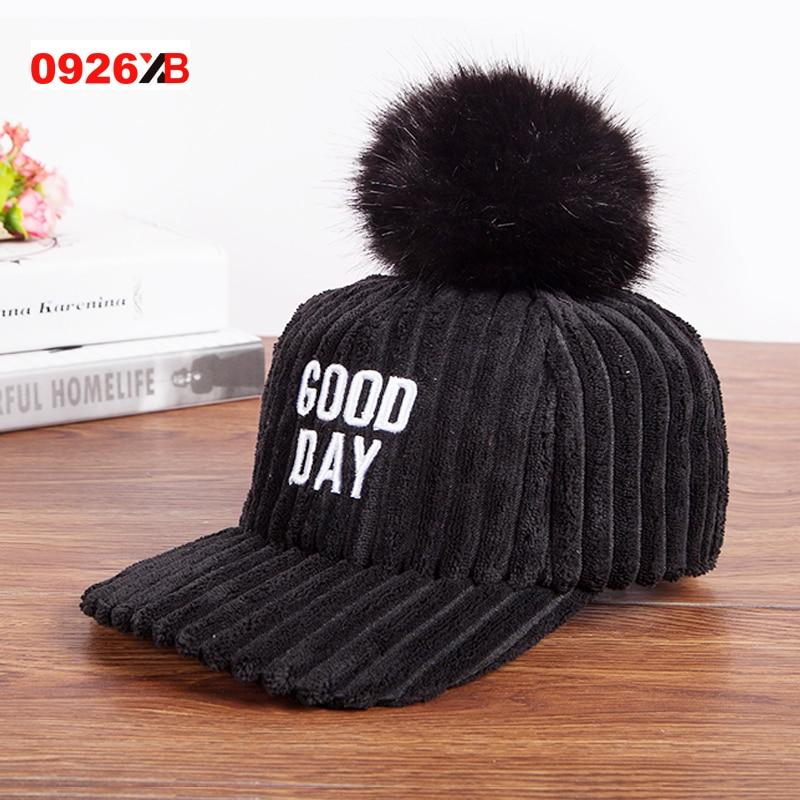 1d1c30f645ce1f Best buy 0926XB Fur Pom pom Cap For Women Spring Autumn Baseball Cap With Raccoon  Fur pompoms Brand Snapback Caps girls Warm hat XB B278 online cheap