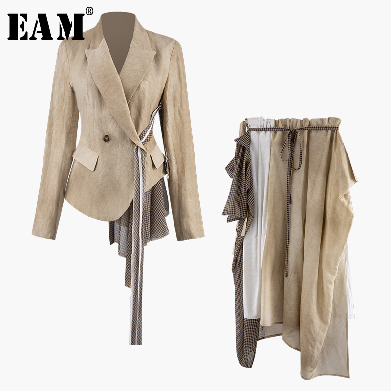 [EAM] 2019 New Autumn Winter Lapel Neck Long Sleeve Belt Spliced Personality Half-body Skirt Two Piece Suit Women Fashion JX893