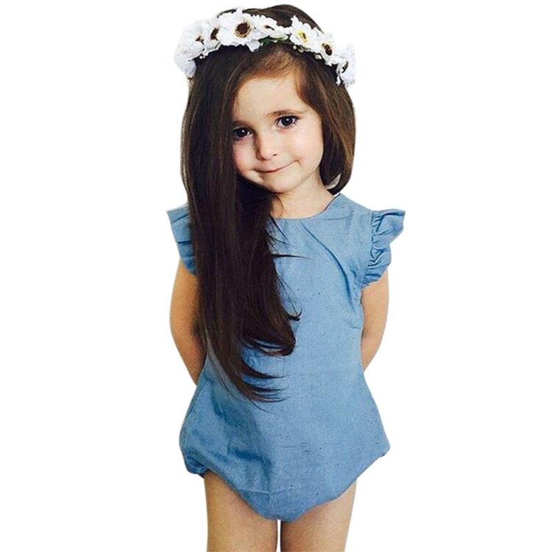 2017 Summer Baby Girl Clothes Denim Romper Ruffles Sleeves Solid Blue Newborn Baby Toddler Kids Jumpsuit Outfits Sunsuit pudcoco newborn baby girl clothes 2017 summer sleeveless floral romper backless jumpsuit sunsuit children clothes