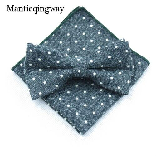 Mantieqingway мужской хлопчатобумажный галстук-бабочка носовой платок набор бизнес костюмы бантики точка карман квадратное полотенце для сундуков Hankies для свадьбы - Цвет: MYBZZ054GN