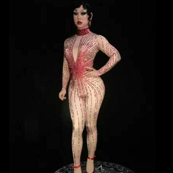 Shiny Rhinestone Sexy Jumpsuit Female High Elasticity Red Nude Long Sleeve Bodysuit Women's Singer Stage Dj Party Wear Costume