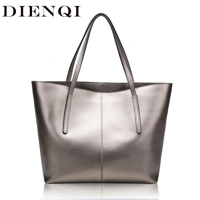 DIENQI Silver Genuine Leather Women Bag Big Handbag Fashion Top handle Hand Bag Ladies Tote Large