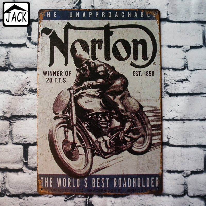 norton the worlds best roadholder 20x30cm vintage tin plate metal tin signs wall decor garage club barn parlor bedroom plaques - Bedroom Wall Plaques