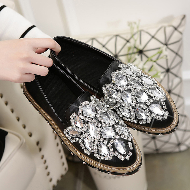 Loafers Woman Rhinestone High Quality Black Silver Slip-on Shoes Woman Ponited Toe Platform Women's Flats shoes Zapatos Mujer