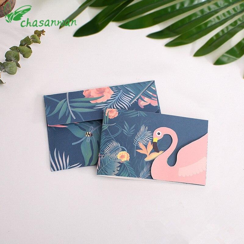 5 Set Flamingo Greeting Card Birthday Blessing Card with Envelope Wedding, Birthday, Festival Supplies,Souvenir Free Shiping,B
