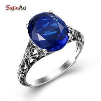 Szjinao kpop Blue Sapphire Ring Charm Vintage Hobbit Rings For Women Dress Zirconia 925 Sterling Silver Jewelry Wholesale