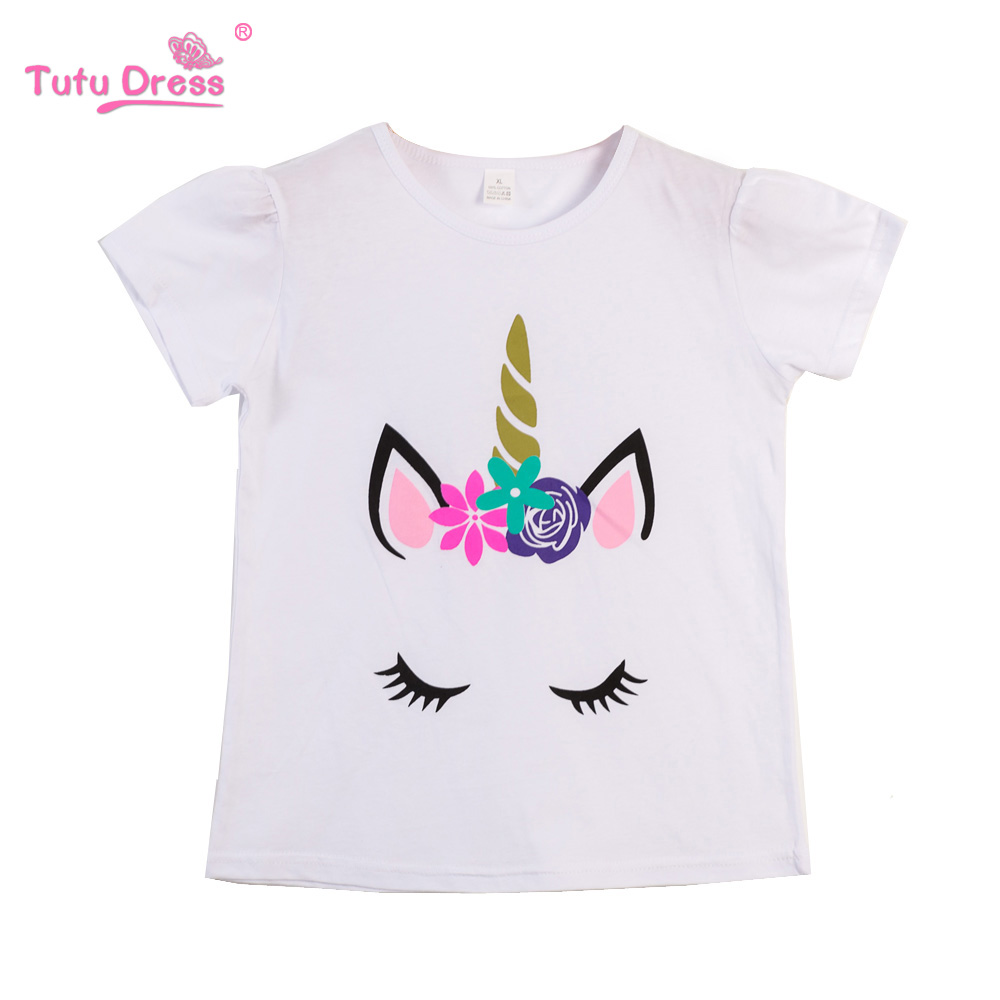Baby Girls Clothes Funny Cartoon Pattern Kids T-shirts For Girls Child Short Sleeve Tops Baby Blouses O-neck Cotton Clothing baby girls knee length dress o neck full sleeve black&white striped child dresses new cotton kids clothes