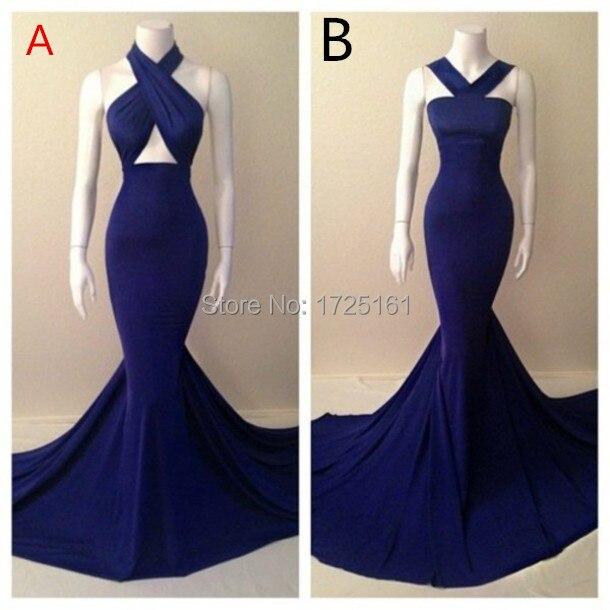 Royal Blue Mermaid Halter Backless Jessica Rabbit Dress Off Shoulder