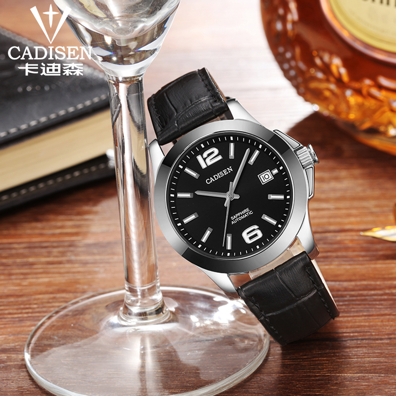 Image 3 - Mens Watches CADISEN Classic AUTO Date Automatic Mechanical Watch  Analog Skeleton Black Leather Man Black ceramic WristwatchMechanical  Watches