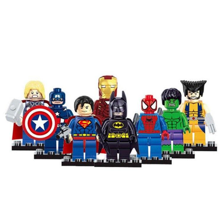 Marvel <font><b>The</b></font> <font><b>Avengers</b></font> Super Hero 8pcs Mini Captain Action Figures Building Toy Gift DIY <font><b>Character</b></font> Animation