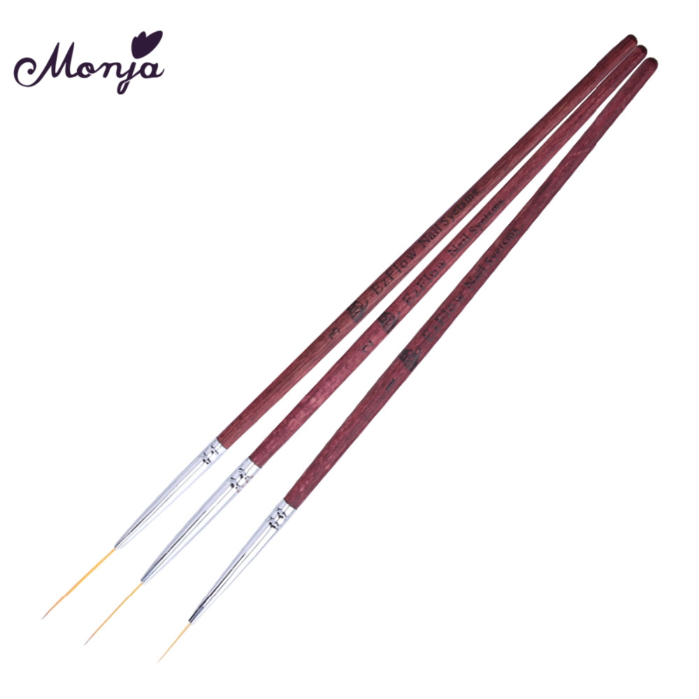 Monja 3pcs/set Nail Art French Design Flower Liner Lines Stripes 3D Image Drawing Mink Hair Pen Brush Manicure Tool