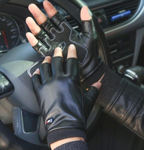 Women's autumn winter faux leather Elastic thicken warm Riding glove Men's Solid Black Color driving glove R221