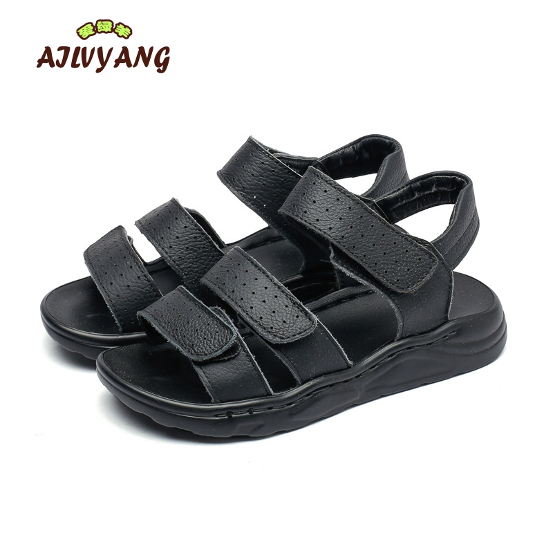 Boys Summer Genuine Leather Shoes Children Soft Beach Casual Sandals Big Kids Comfortable Genuine Leather Sandals