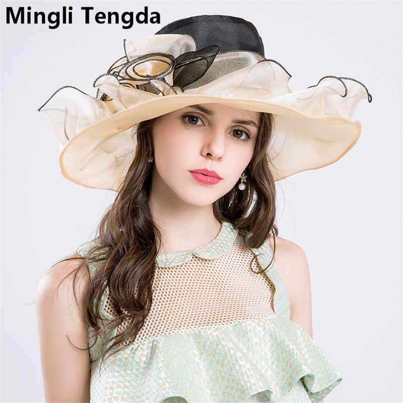 4c5a8c9ad824b New Organza Big Hats Wedding Hats for Women Elegant Bridal Accessories  tocados bodas sombreros Exaggeration Hats