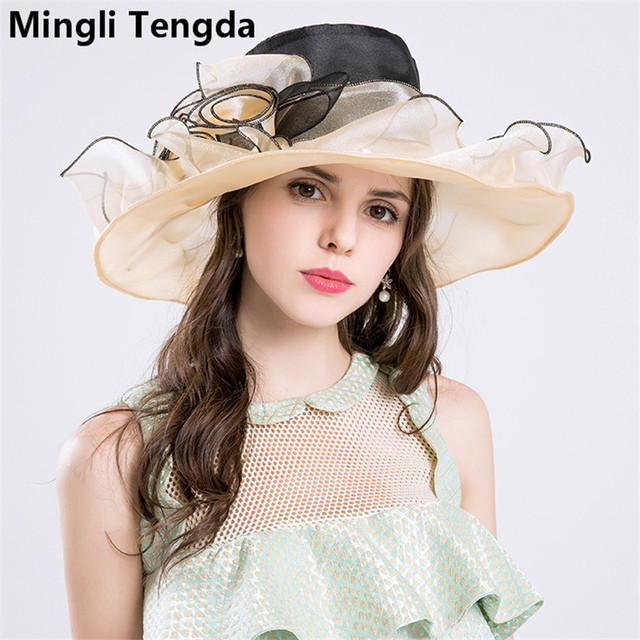 New Organza Big Hats Wedding Hats for Women Elegant Bridal Accessories  tocados bodas sombreros Exaggeration Hats Mingli Tengda f7ca4844f17