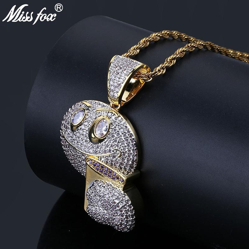 MISSFOX Hip Hop Drinking Coffee Happiness Emoji Necklaces Pendants 24K Gold Plated AAA Cubic Zirconia Men'S Fashion Gold Jewerly