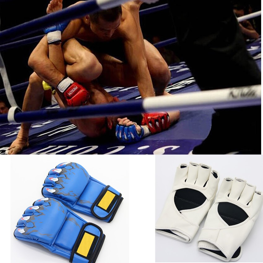 New MMA Sparring Grappling Boxing Fight Ultimate Mitts Leather Gloves Black