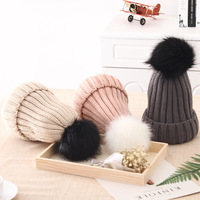 Pompon Hat Thick Winter For Women Cap Beanie Hats Knitted Cashmere Wool