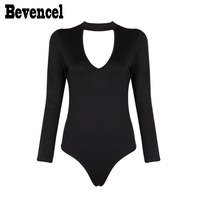 Bevencel 2019 New Black Bodysuits Womens Long Sleeves Halter Sexy Beach Bodycon Bandage Bodysuit Wholesale