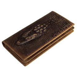 Пояса из натуральной кожи мужской Бумажники Винтаж крокодил картина коровьей Для мужчин длинный кошелек с держателей карт PR088030C