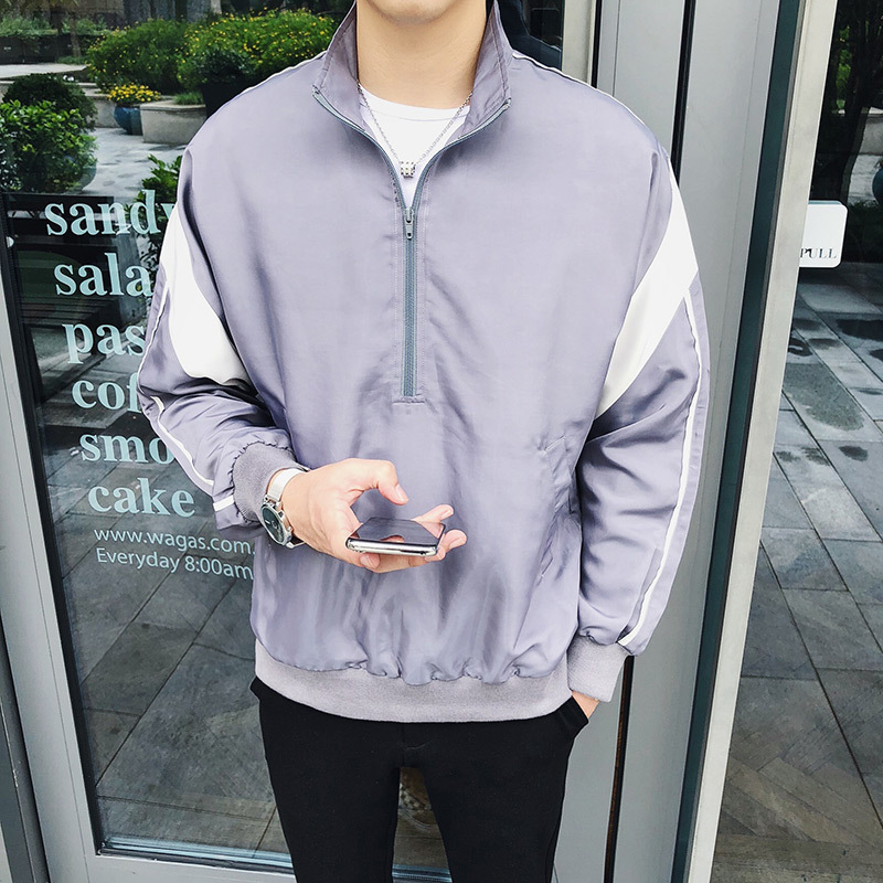 2018 Autumn And Winter Youth Men's Casual New Temperament Fashion Personality Stand Collar Pullover Shoulder Stitching Jacket