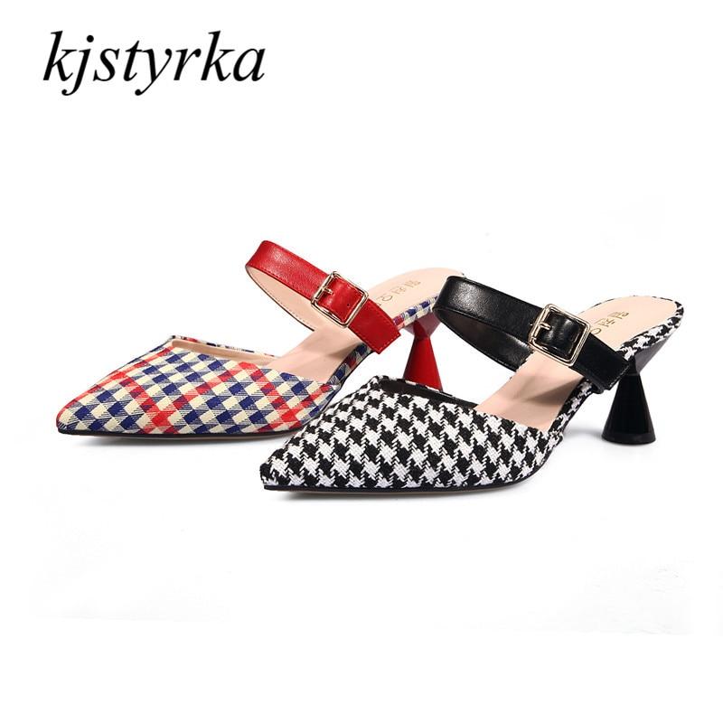 где купить Kjstyrka 2018 spring summer sandals Slippers Women Fashion designer buckle spike heel Woman With Belt Mules  pumps по лучшей цене