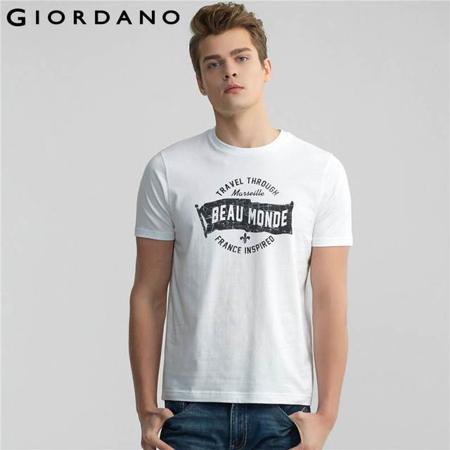 69206228d262 Giordano Men T-shirt O Neck Crewneck Printed Short-Sleeves Cotton Soft Tees  Printed