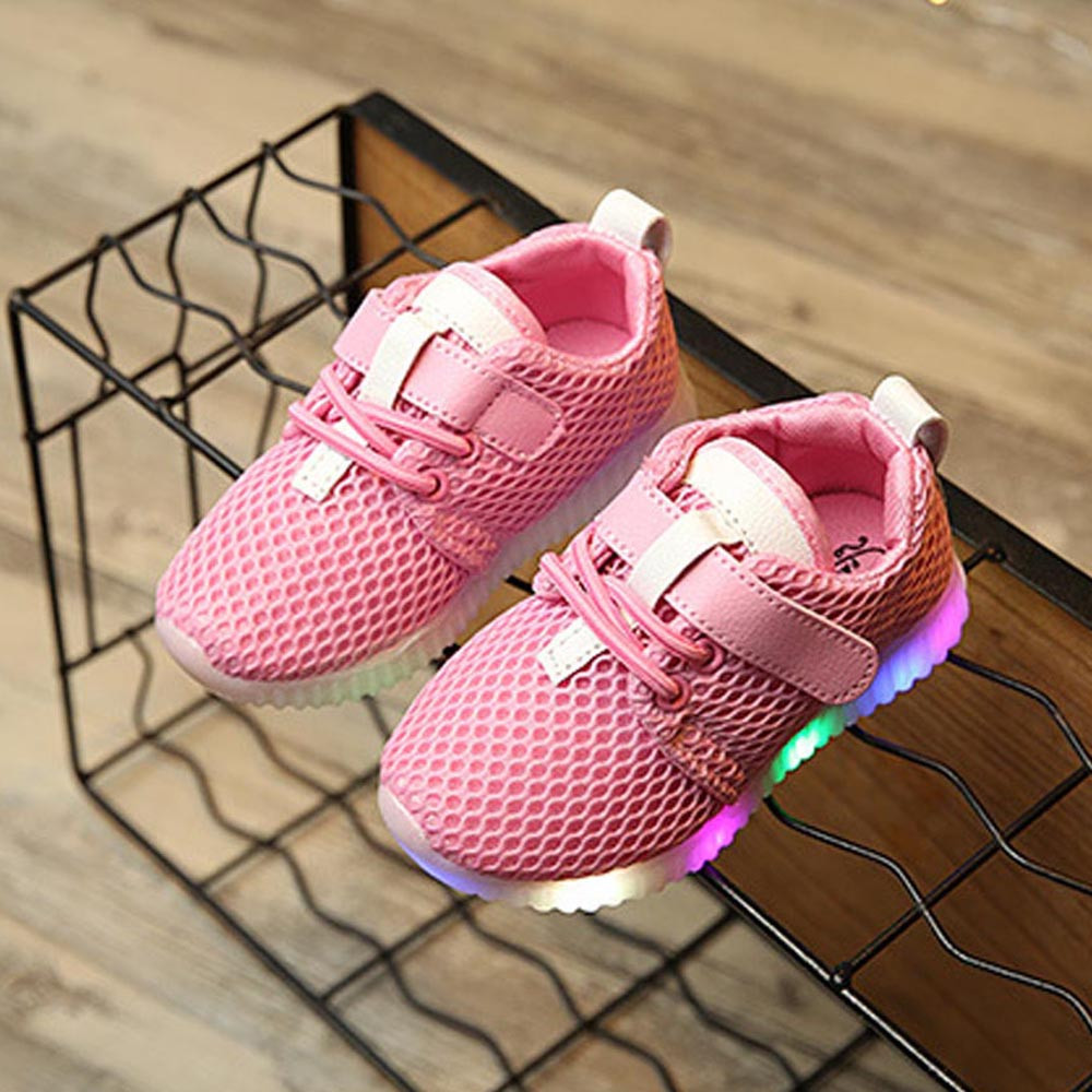 LED Baby Boys Girls Shoes kids Light Up Luminous Child Trainers Running Sneakers Toddler First Walker Anti-slip Booties BFOF