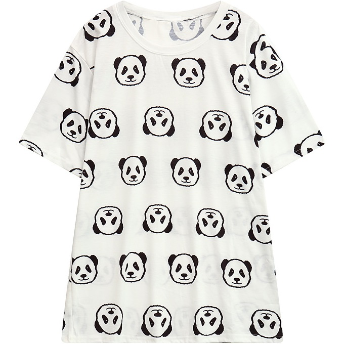 Women T Shirt 2017 Summer Cute Cartoon Panda Pattern Printed T Shirt