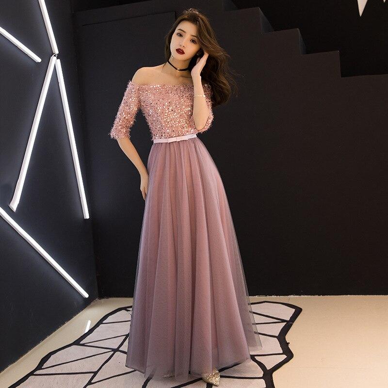 Sexy Chinese Oriental Pink Wedding Female Noble Cheongsam Off Shoulder Evening Dress Elegant Modern Celebrity Banquet Dresses