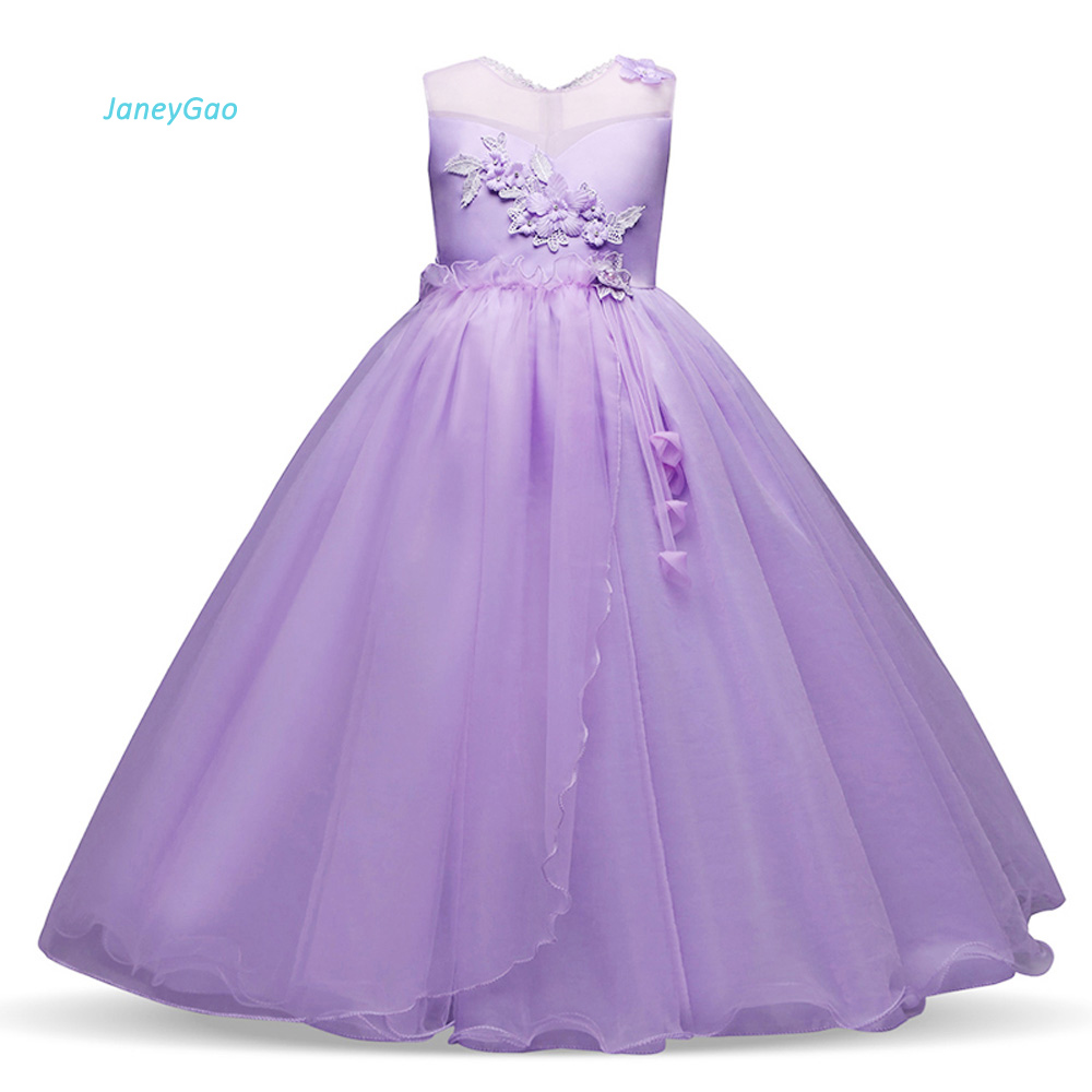 JaneyGao Flower Girl Dresses For Wedding Party 2019 New Arrival Purple Teenage Girl Formal Gown White First Communion Dresses