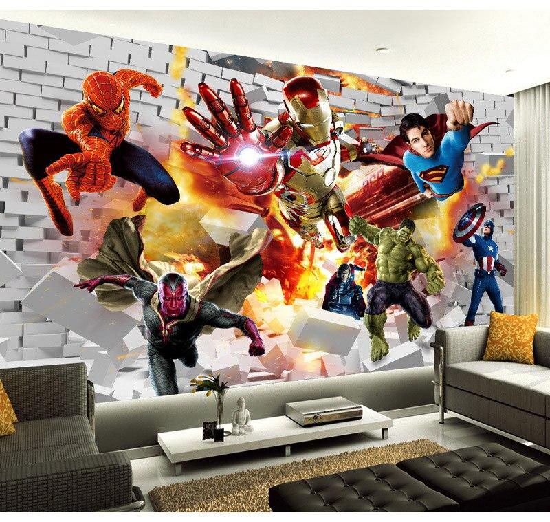 Amazing Aliexpress.com : Buy Avengers Wallpaper 3D Photo Wallpaper Hulk Iron Man  Superman Wall Mural Boy Bedroom Bricks Wallpaper For Walls TV Backdrop  Decor From ... Part 17