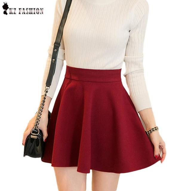 27b3be1044 Nueva llegada del resorte de las mujeres de moda un line falda faldas de  lana plisada