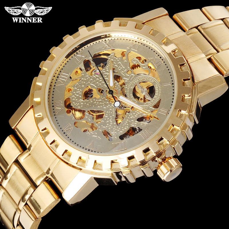 WINNER famous brand men mechanical automatic gold watches male skeleton steel fashion wristwatches dragon dial Relogio Masculino
